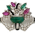 An art deco diamond, gem-set and enamel brooch, circa 1925