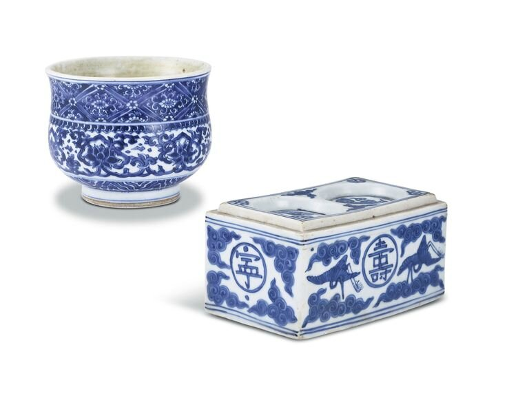 A blue and white 'lotus' bowl and a blue and white 'cranes and clouds' inkwell, mark and period of Jiajing & Wanli period