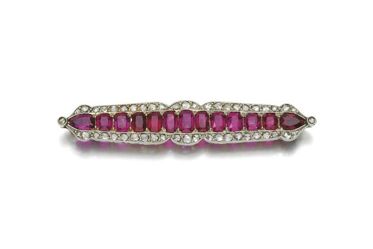Ruby and diamond brooch, early 20th century