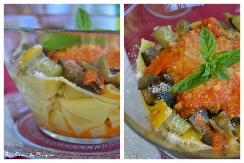 Tagliatelles légumes grillés, sauce poivron et parmesan1