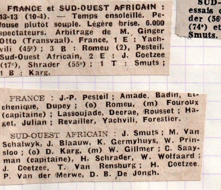 1975 - juin tournée en AFS018 contre le sud ouest africain