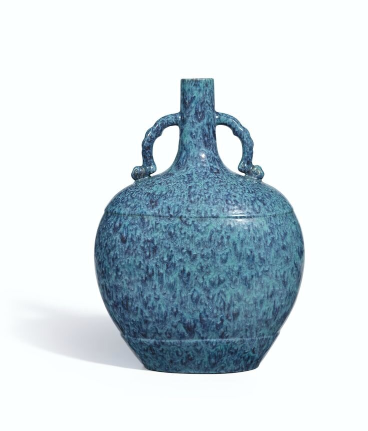 An extremely fine and brilliantly enamelled robin's-egg glazed moonflask, Incised seal mark and period of Qianlong