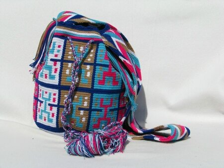 74_Extra_Large_Dark_Blue_Mochila__White__Baby_Blue__Pink__and_Nude_Multi_Coloured_Strap_with_Fringe