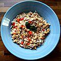 Salade de riz au thon, haricots blancs & poivron
