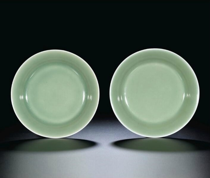 A pair of celadon-glazed dishes, marks and period of Qianlong (1736-1795)