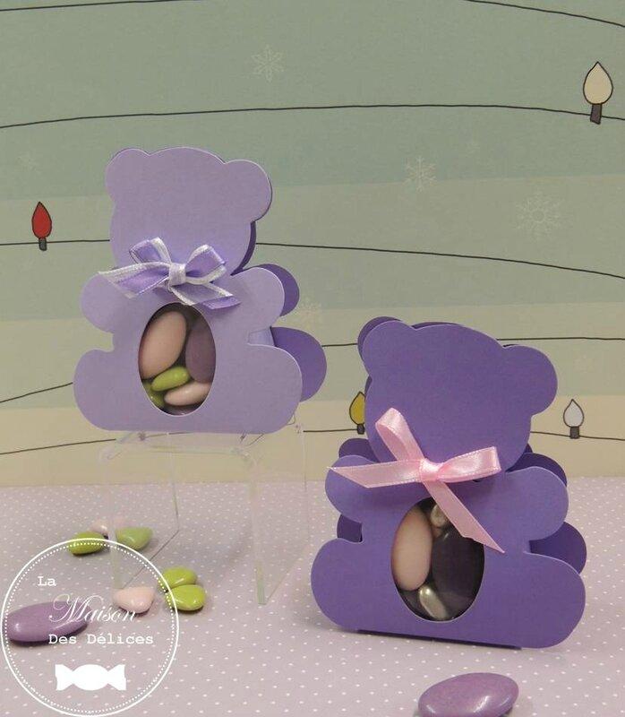 ballotin nounours sujet enfant lilas parme ourson transparent ruban satin boîte dragée baptême amande avola chocolat violet rose