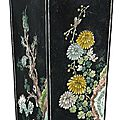A chinese famille-noire square vase, 19th century