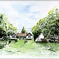 french watercolor shabby chic house garden aquarelle valerie albertosi