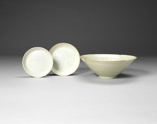 Two Qingbai dishes and a bowl, Song Dynasty