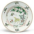 A large famille-verte 'deer and crane' dish, qing dynasty, kangxi period (1662-1722