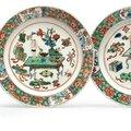 A pair of famille verte plates, Kangxi period (1662-1722)