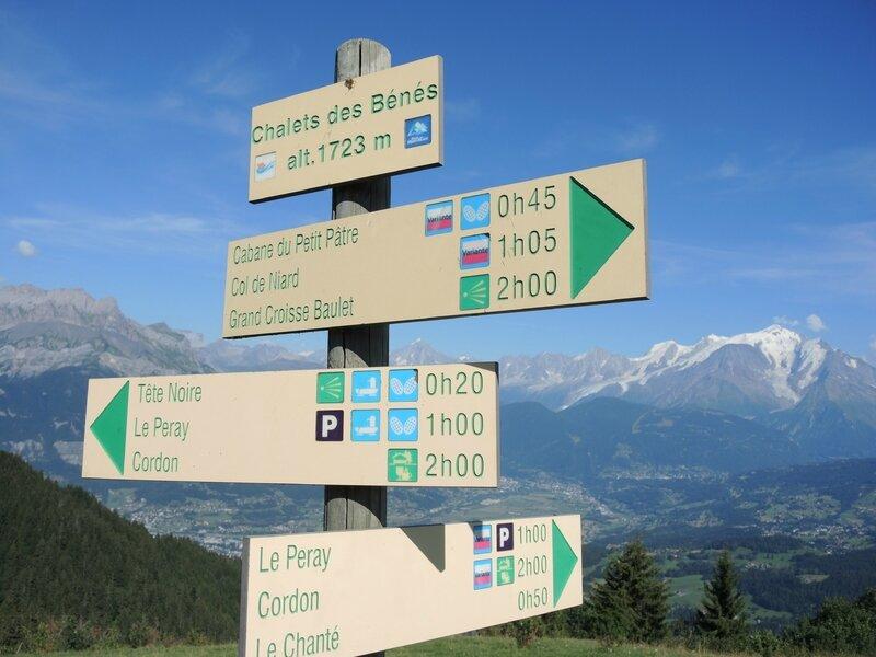 Cordon, randonnée belvédère, chalets des Bénés, panneaux (74)