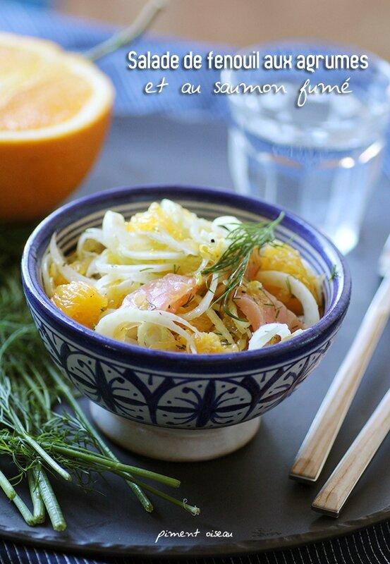 salade de fenouil aux agrumes et au saumon fumé