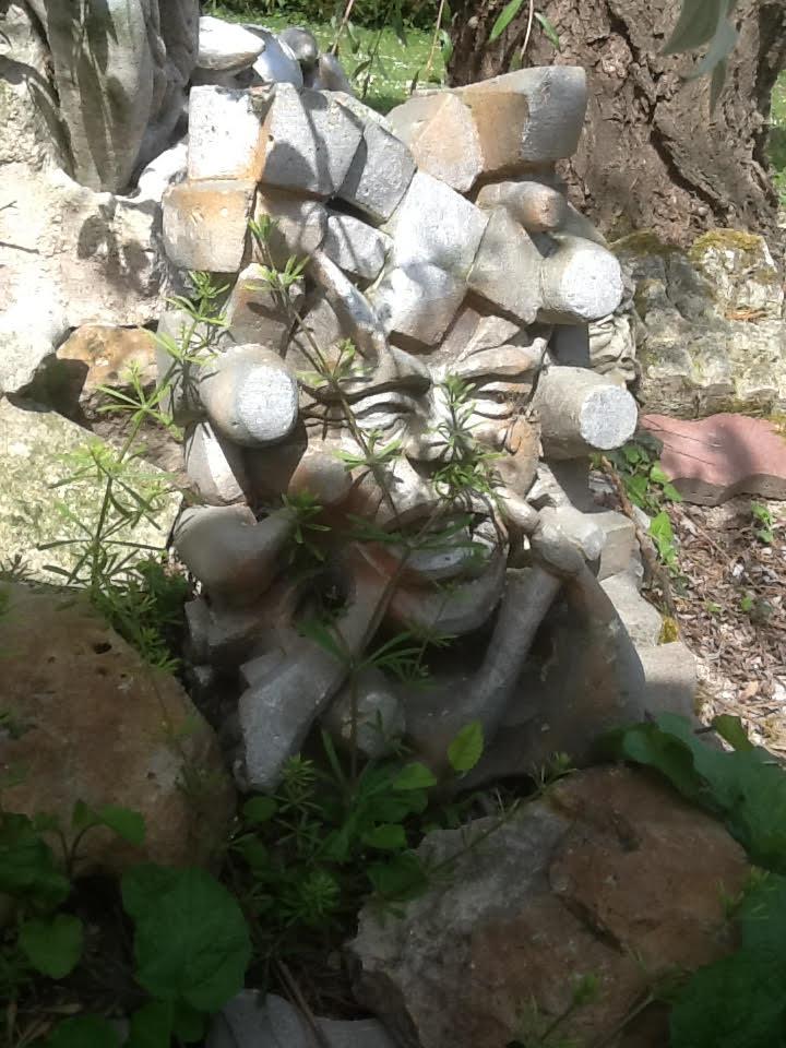 UNE DE MES SCULPTURES EN PIERRE , jetée dans mon jardin il y a deux ans....bravo la nature!