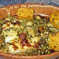 Queues de lotte épicée aux petits pois et terrine de légumes