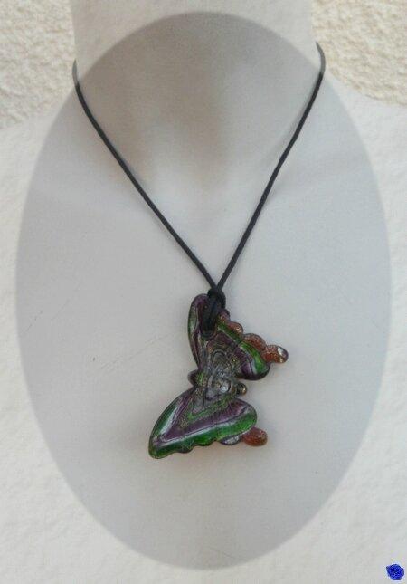 Pendentif papillon verre murano