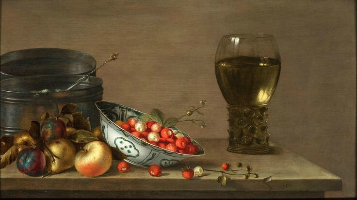 Gillis Gillisz. de Bergh, Plums and apples, a blue and white bowl of Strawberries, grapes, gooseberries, a Roemer of wine...