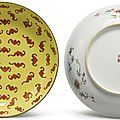 A pair of yellow-ground 'One Hundred Bat' dishes, Tongzhi marks and period