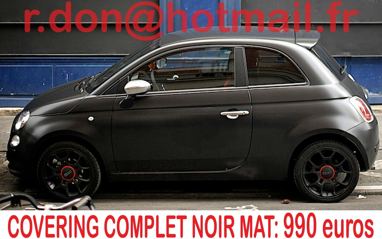 fiat 500 covering fiat 500 fiat 500 noir mat. Black Bedroom Furniture Sets. Home Design Ideas