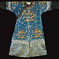 A blue-ground embroidered dragon robe, jifu. qing dynasty, jiaqing-daoguang period