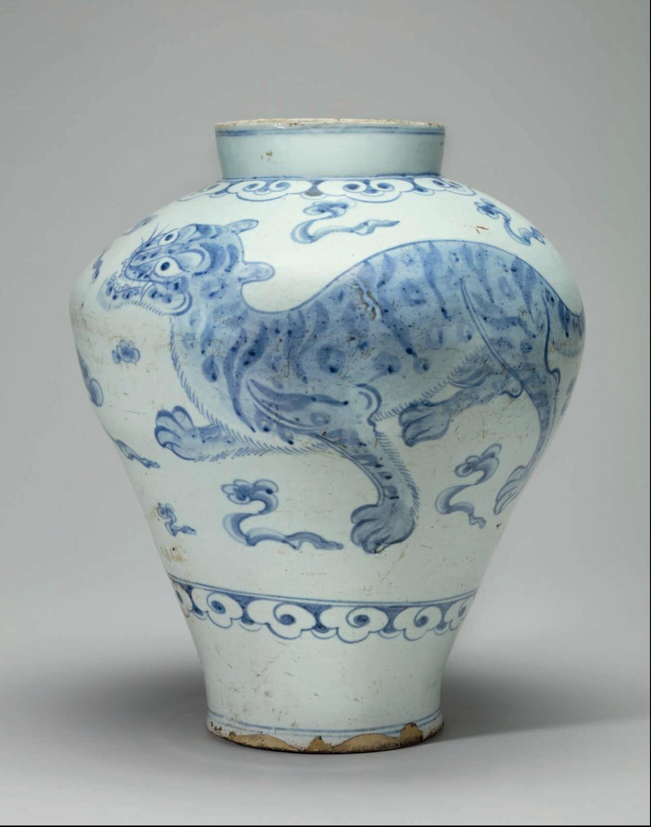 A blue and white porcelain jar with a tiger and mythical lion a blue and white porcelain jar with a tiger and mythical lion haetae joseon dynasty 19th century reviewsmspy