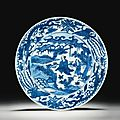 A blue and white Scholar dish, Wanli mark and period - Sotheby's