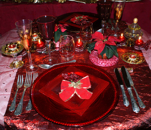 D coration une table de no l toute rouge le blog - Decoration table de noel pas cher ...
