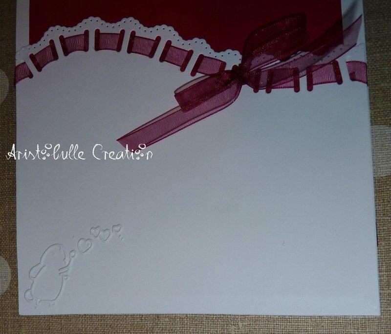 Carte shaker box St Valentin - détail embossage intérieur