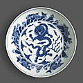 A blue and white dragon dish, Chenghua mark, 18th century