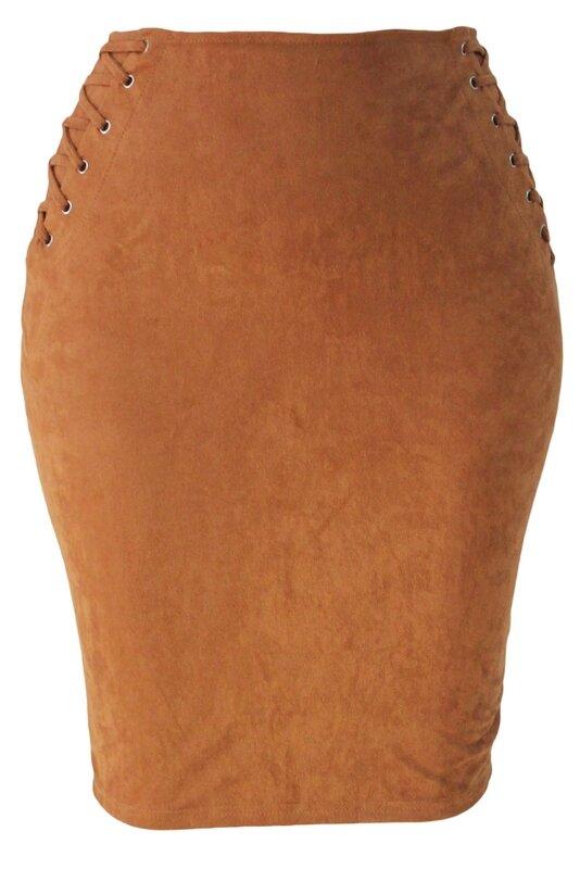 jupe suédine marron corset (1)