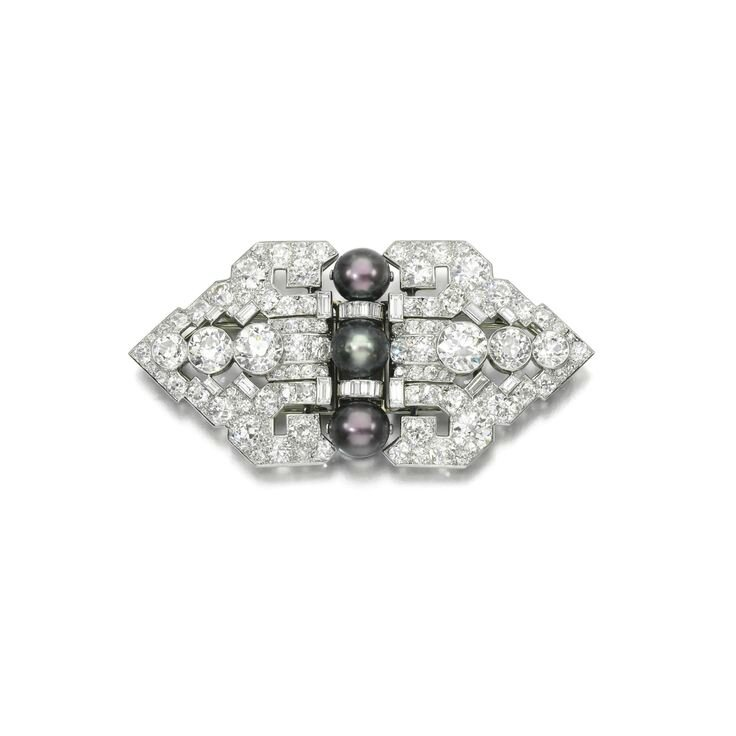 The Estate of Mary, Duchess of Roxburghe. Natural pearl and diamond double clip brooch, Cartier, circa 1935