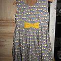 Robe OCTAVIE en coton gris imprimé oiseaux - noeud et boutons recouverts en coton jaune (2)