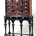 Cabinet en placage d'ébène, écaille rouge et bois de fruitier, dans des encadrements à filets d'os et d'ivoire. xixe siècle