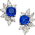 Sapphire, diamond, platinum, white gold earrings, monture harry winston