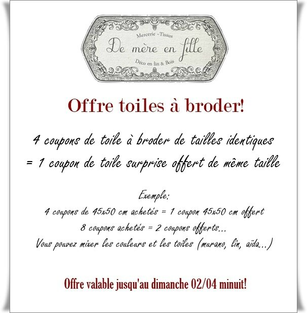offre toiles à broder