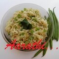 Angel hair pasta + beans upma
