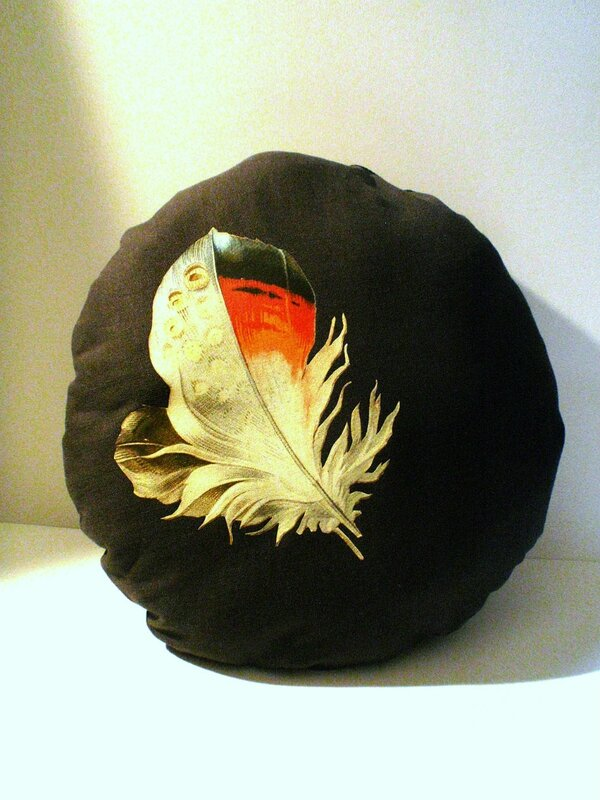 coussin rond plume