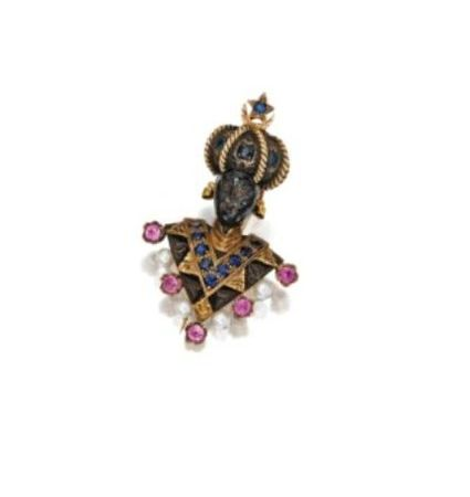 18_KARAT_GOLD__SILVER_AND_GEM_SET_BLACKAMOOR_BROOCH__NARDI