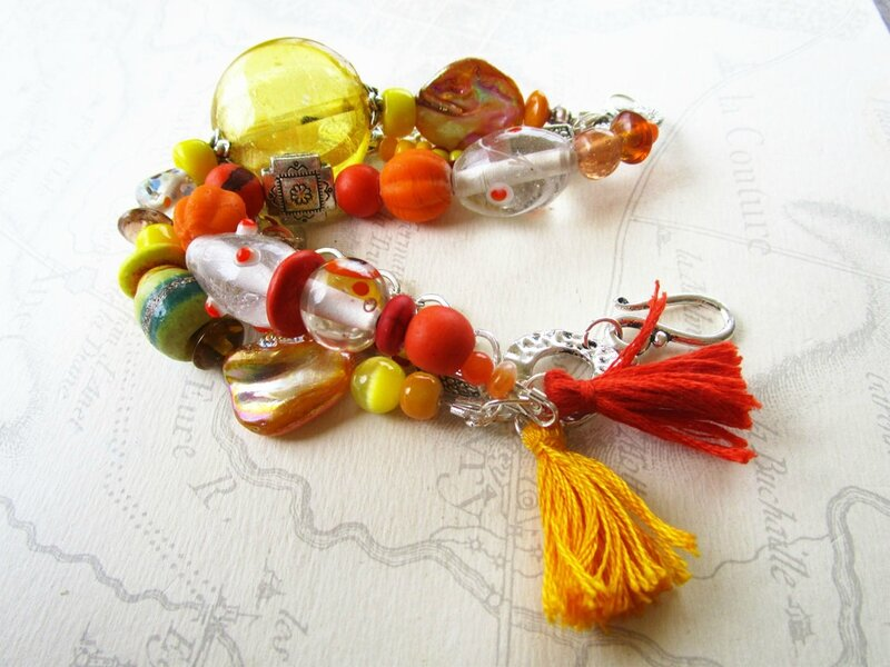 bracelet orange et jaune 002