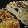 Fougasse olives, mozzarella, lardons