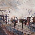 Aquarelle urbaine, aquarelle des rails, paris