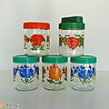 Vintage ... pot en verre fleurs & fruits 45cl * type henkel