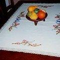 chemin de table avec fleurs et mésanges