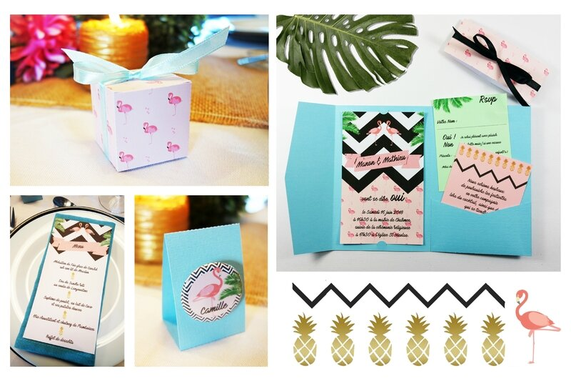 collection faire-part menu boite dragée badge marque-place flamant rose tropical