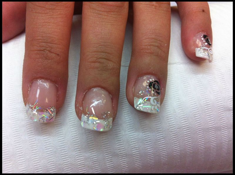 french blanche d co paillettes lovely nails proth siste