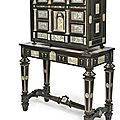 A baroque iron mounted, engraved ivory inlaid ebony cabinet, italy, 17th century