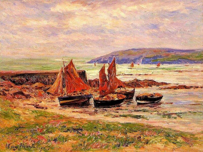 Ch01 - Port du Loch en 1911 - peinture sur toile de Henri Moret