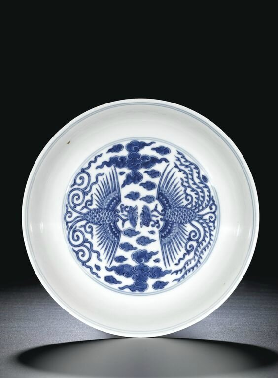 A blue and white 'Double-phoenix' saucer dish, seal mark and period of Qianlong (1736-1795)