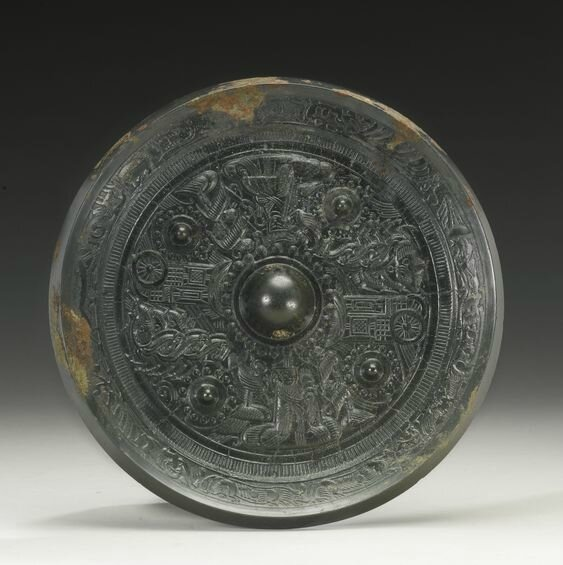 A bronze 'Immortals' mirror, Han dynasty