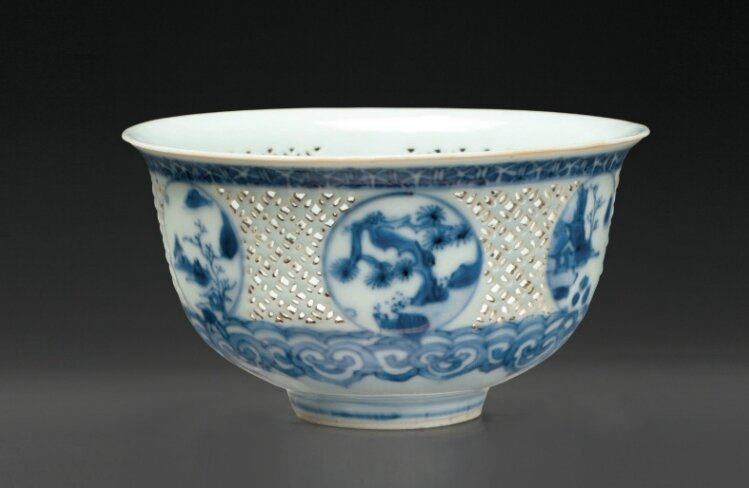 A reticulated blue and white bowl, Chongzhen period (1628-1644)